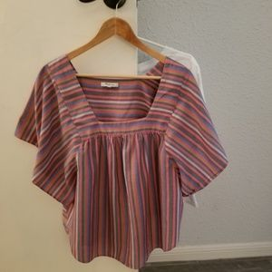 Madewell butterfly rainbow striped shirt